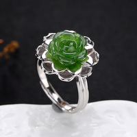 2018 Fashion Silver S925 Pure Silver Antique Mosaic And Field Jasper Rose Lady High end Open Ring Ring Wholesale