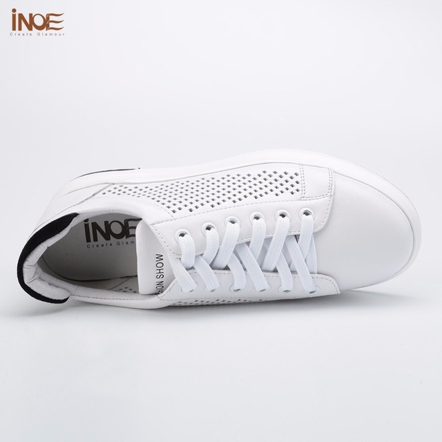 INOE 2017 new fashion style genuine cow leather women casual spring summer shoes leisure lace up girls loafers flats white black