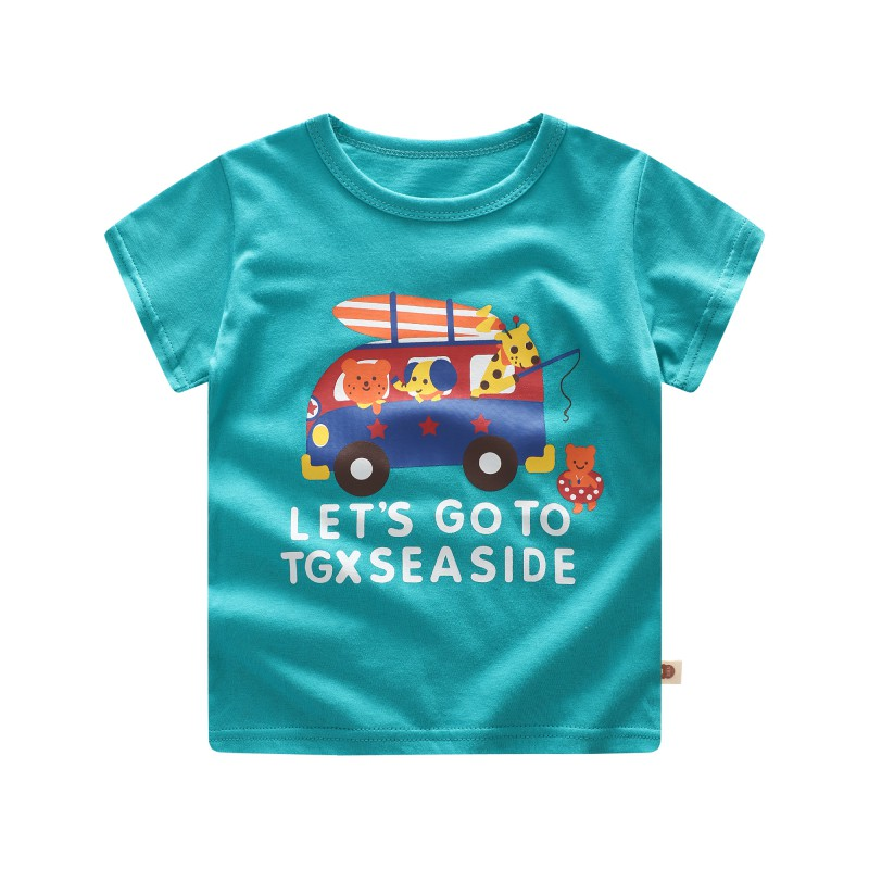 Kids Baby Boy Girl Summer Toddler Short Sleeve T-Shirt Cute Cartoon Casual Blouse Comfortable Dressing Different Places ...
