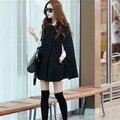 Women Korean Ladies Batwing Oversized Casual Poncho Winter Coat Jacket Loose Cloak Cape Outwear Black Coat M L H0653575