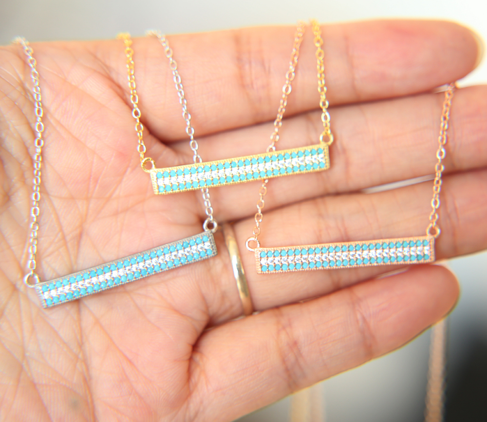 promotion 100% 925 sterling silver 3 colors micro pave chocker summer fashion sparking skinny blue necklace