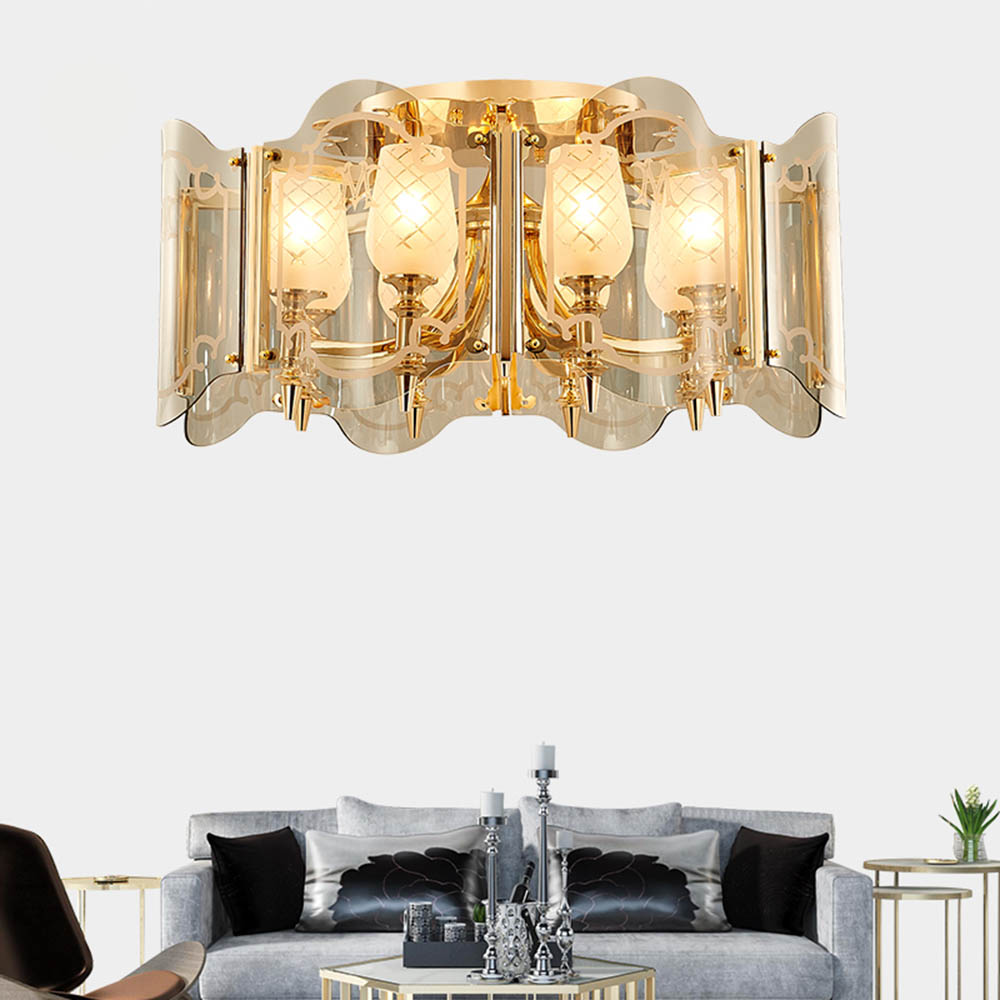 Postmodern Nordic Luxury Gold Glass Lampshade Flower Carved LED Ceiling Light Fixture Kit for Hotel Hall Living Room Home Decor