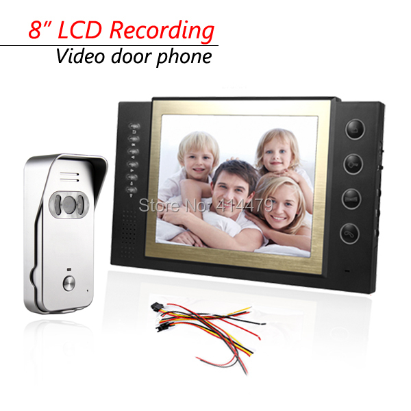 8 inch LCD Recording Screen Home Video door Phone Intercom System 700TVL Night Vision Doorbell Camera Max.32GB Card Rocord 7 inch video doorbell tft lcd hd screen wired video doorphone for villa one monitor with one metal outdoor unit night vision