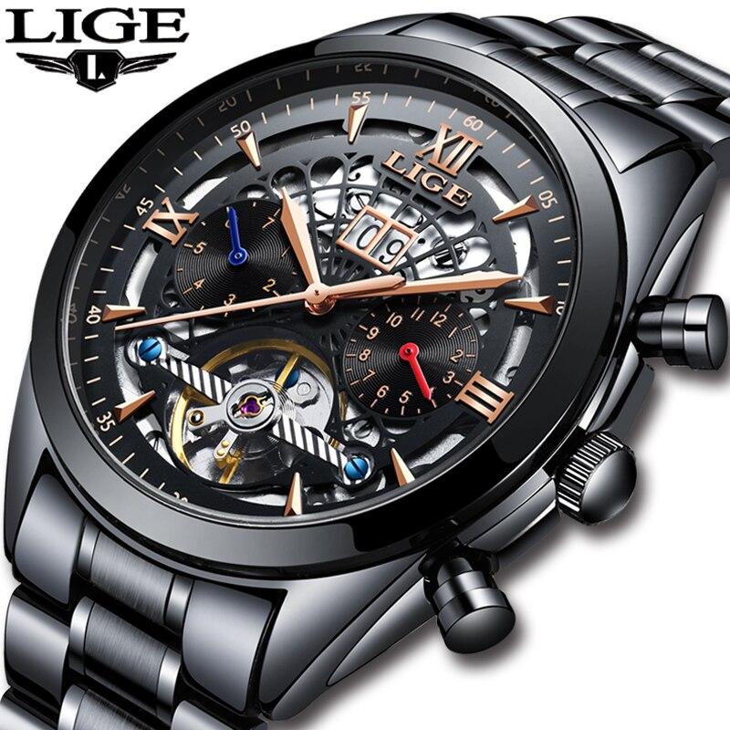 LIGE Novo Mens Tourbillon Relógio Mecânico dos homens Relógios Top Marca de Luxo Homens de Negócios de Moda Relógio À Prova D' Água Relogio masculino