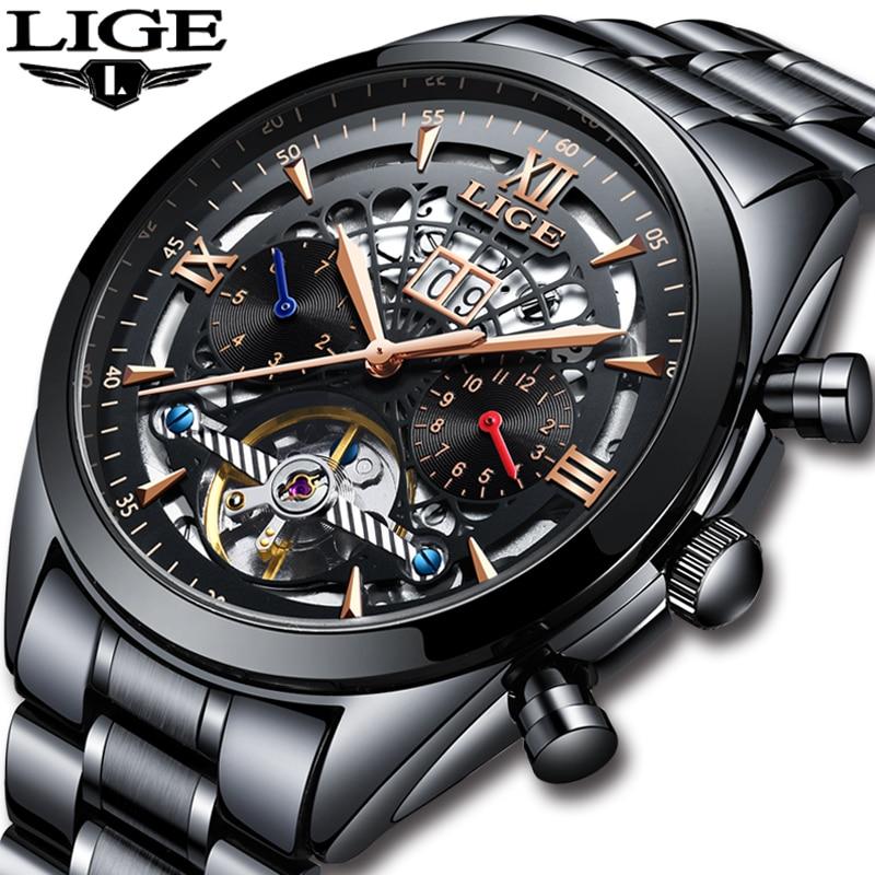 LIGE Nouvelle montres homme Top Marque De Luxe Hommes Tourbillon de montre mécanique Hommes De Mode D'affaires montre étanche Relogio Masculino