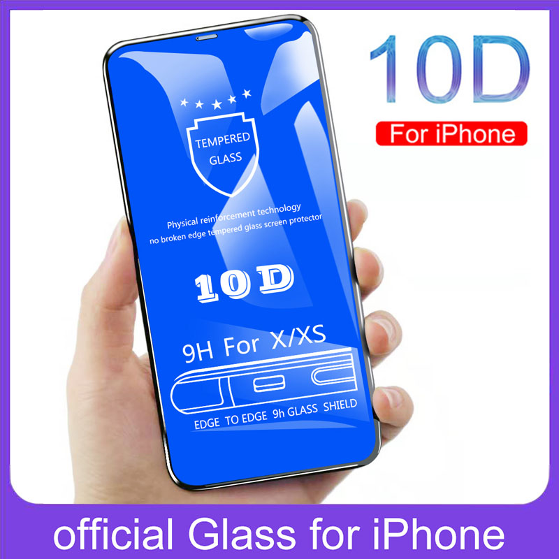 10D Tempered Glass For Iphone X Xs eight 7 6 6S Plus Display screen Protector Full Cowl Glass For Iphone Xs Max Xr Protecting Movie