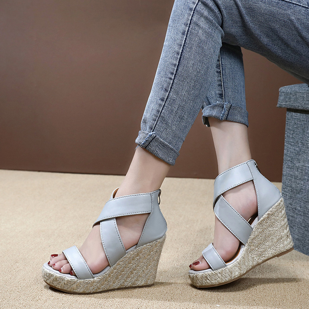 Womens Sandals Wedges Platform Beach-Shoes Open-Toe Roman-Style Ladies Thick-Bottom Mujer