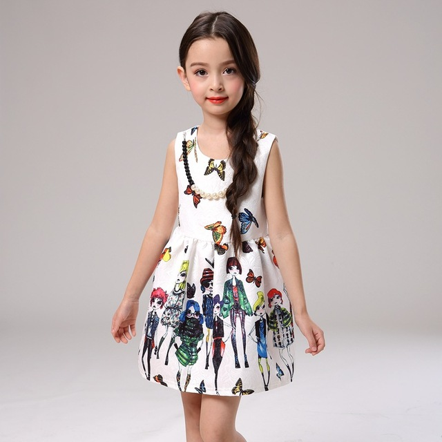 d08016d1b European Style Royal Printed Girl Dress O Neck Sleeveless Girls ...