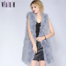 2019 Fashion Sexy Ostrich Wool Turkey Fur Women Fur Coat Feather Fur Vest 90cm Real Fur Vest Manteau Fourrure Femme(China)