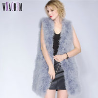 2019 Fashion Sexy Ostrich Wool Turkey Fur Women Fur Coat Feather Fur Vest 90cm Real Fur Vest Manteau Fourrure Femme