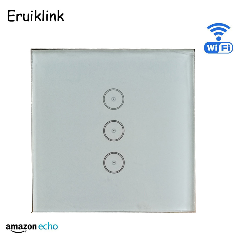 WIFI Wall Switch 110~240V Smart Wi-Fi Switch button Glass Panel 3gang 1way EU version Touch Light Switch work Amazon Alexa work with amazon alexa google home 90 250v smart wi fi switch glass panel uk 3gang touch light wall switch ewelink app