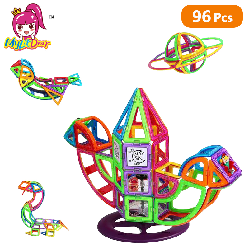 Mylitdear Magnetic Designer 96Pcs Normal Magnet Building Tiles Kits Construction Blocks Set Educational Toys Perfect for