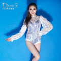 2016 female singer ds Costume European jazz sequin Floral  Patchwork  jumpsuit Transparent White lace Dance wear sexy Bodysuit