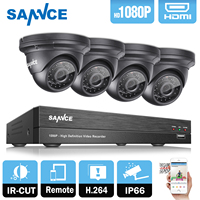 SANNCE 8CH 2MP 1080P HD DVR AHD Surveillance Kit 4PCS 1080P 2MP Dome Home Security Camera CCTV System Ovif