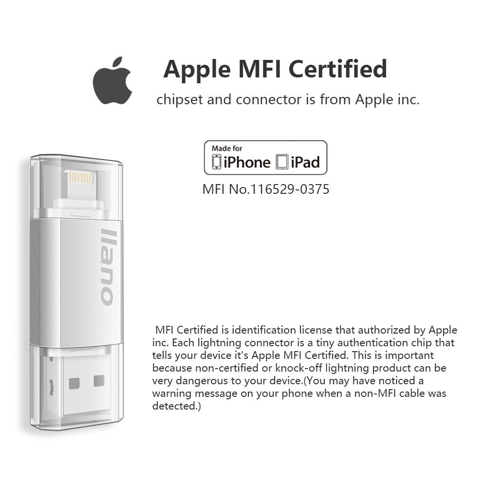 US $15 51 |2 in 1 For Apple MFI Certified Flash Drive Lightning and USB 3 0  Connector128G iOS Flash Drive External Memory for iPhone U disk-in USB