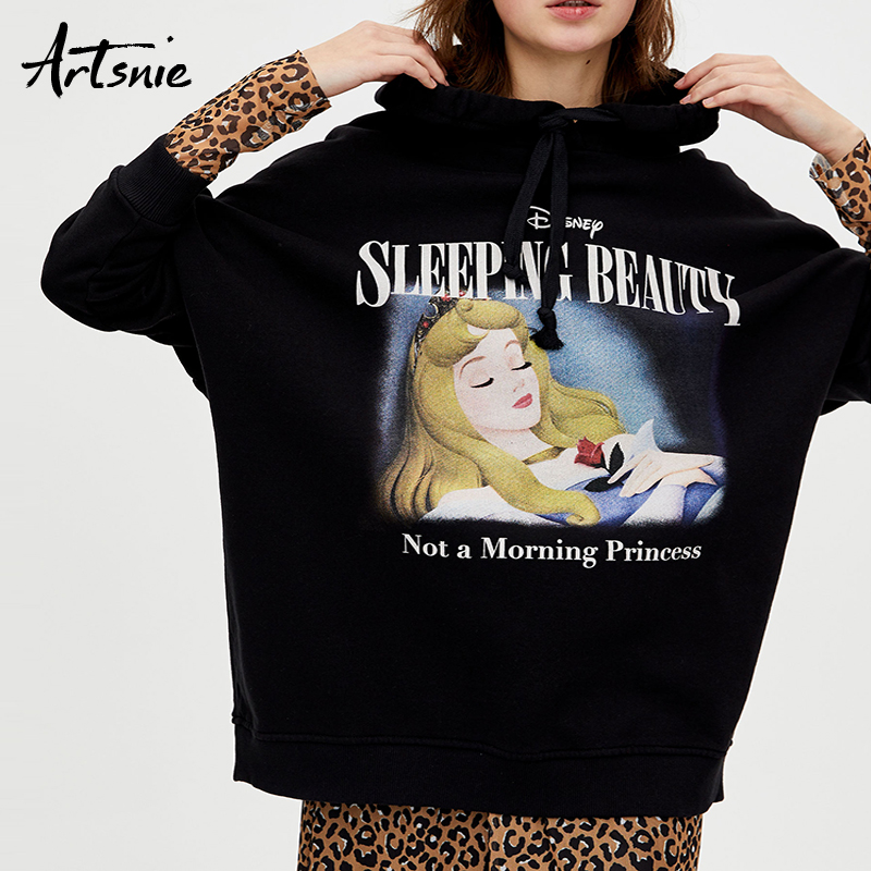 Artsnie Spring 2019 Cartoon Hoodies Sweatshirt Women O Neck Drop Sleeve Loose Oversized Hoodie Streetwear Character Sweatshirts
