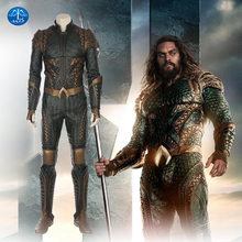MANLUYUNXIAO Justice League Arthur Curry Aquaman Cosplay Costume Halloween Costumes For Men Green Jumpsuit Aquaman Costume