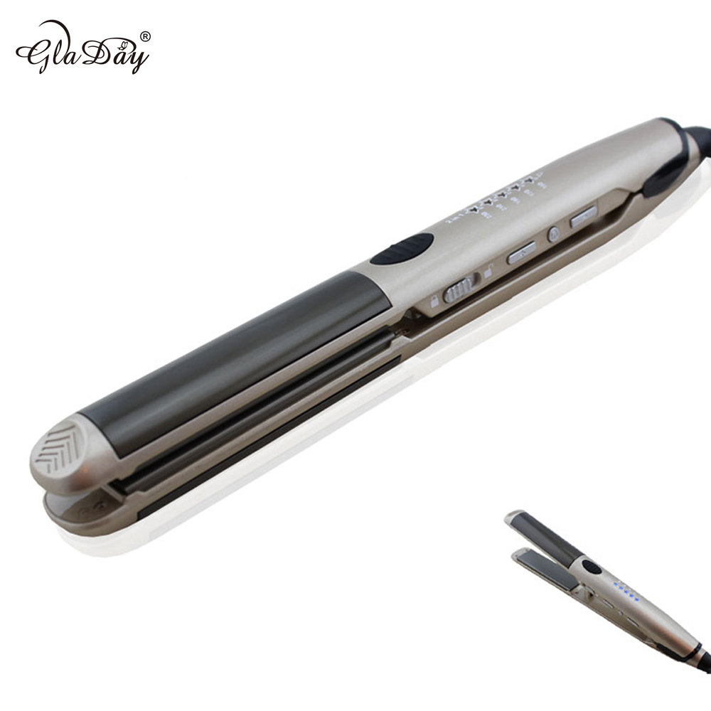 Hair styling iron 2 in 1 Hair Flat Iron Professional Nano Titanium Hair Straightening Flat Iron Curling Irons Hair Straightener professional vibrating titanium hair straightener digital display ceramic straightening irons flat iron hair styling tools new