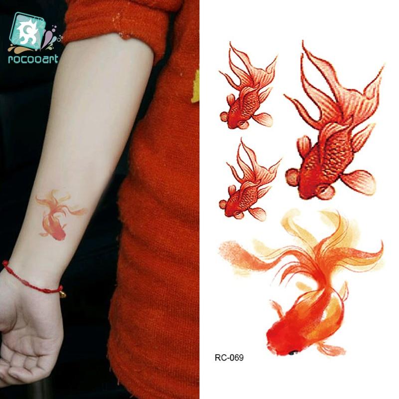 774d368e5 Rocooart RC-069 Fashion Temporary Tattoo Stickers Beauty Body Art Golden  Fish Taty Tattoo Water