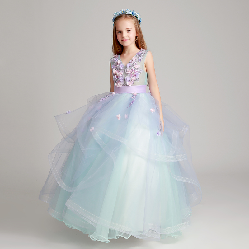 купить Luxury 2018 Flower Girl Dresses For Weddings Ball Gown V-neck Tulle Appliques Lace First Communion Dresses Girls Clothes D29 онлайн