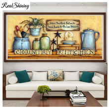 large mosaic 5d icon Country Kitchen Bottle and Jar diamond embroidery cross stitch full square/round diamond painting FS4718 цена