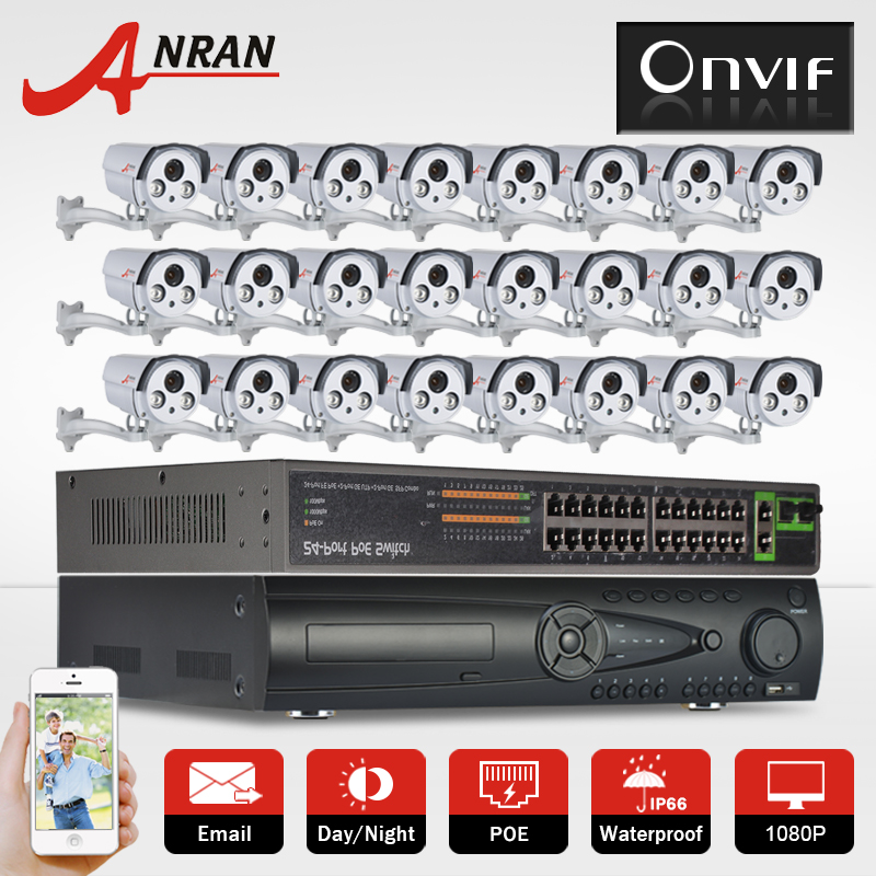 9TB HDD 24CH 1080P Network POE Camera Kit Onvif POE HD Night Vision Outdoor P2P Video Surveillance CCTV security Camera System