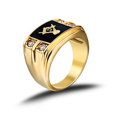 2 color Men's Rings Jewelry Freemasonry Free Masonic ring Stainless Steel Ring Cubic Zirconia for men