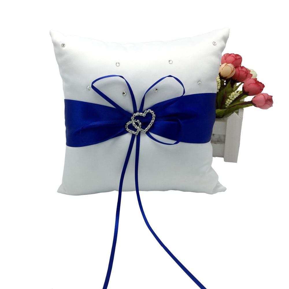 4 pièces/ensemble bleu Royal décoration de mariage nuptiale Satin anneau oreiller + panier de fleurs + livre d'or + ensemble de stylos Casamente produits - 2