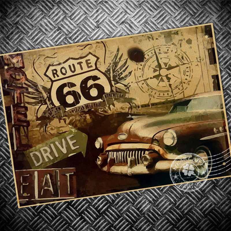 Paint Living Room Vintage Poster Classic Car Usa Route 66 Paint Print Paper