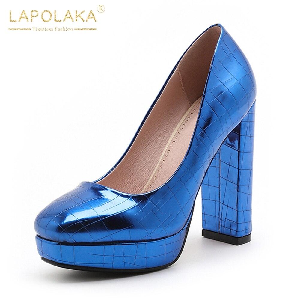 Oficina qiang Se Mujer Zapatos Lapolaka Marca Plataforma rojo 2018 Bombas  Rojo Azul Altos Super Tacones Punta Cuadrada 7ZaxvXrZwq 00b250a4d195