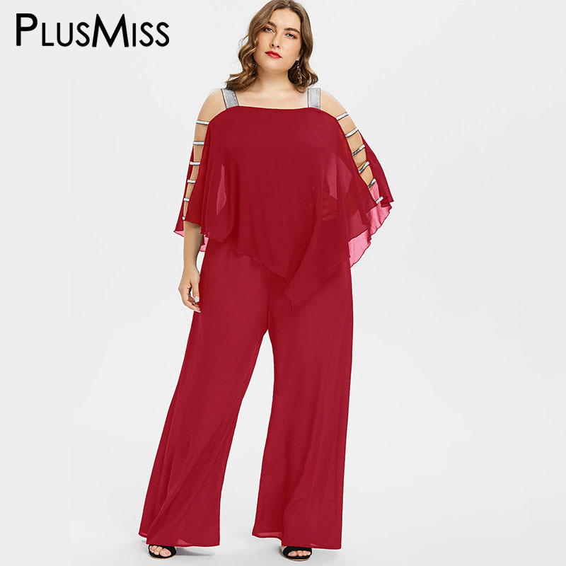 Plusmiss Plus Size 5xl 4xl Sequin Off Shoulder Chiffon Cape Cloak