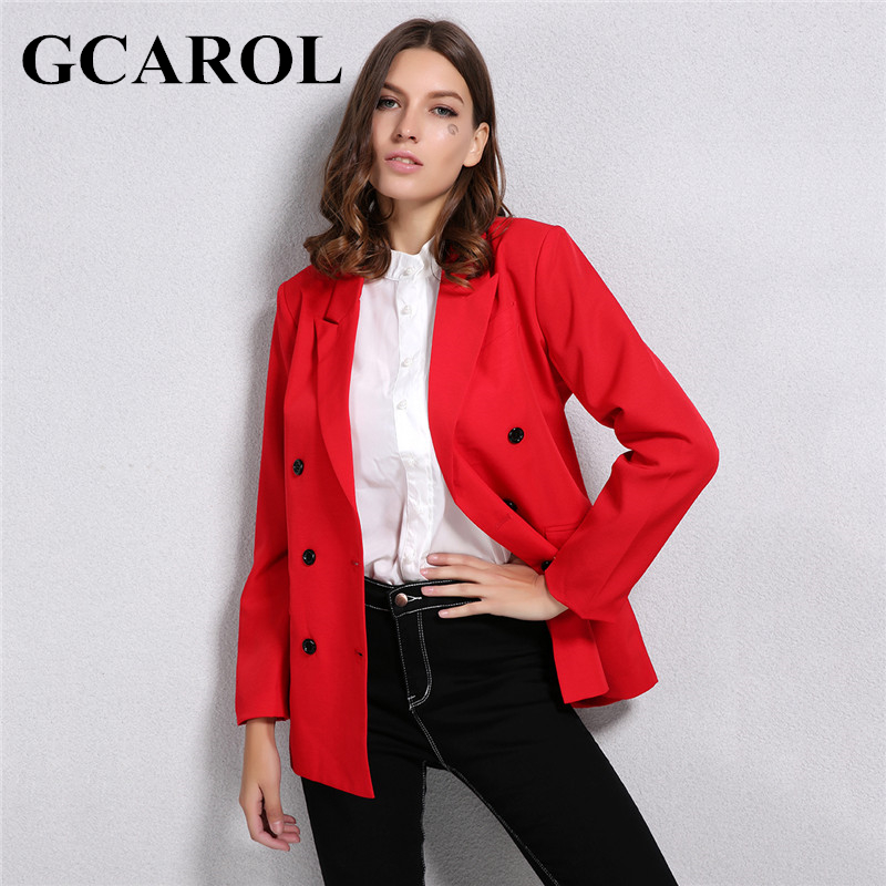 GCAROL New Arrival Spring Autumn Women Blazer Double Breasted Button Notched Collar OL Work Office Suits Outwear-in Blazers from Women's Clothing 1