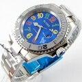 Bliger 40 мм синий циферблат Дата керамический Безель красочные отметки saphire стекло автоматическое движение Мужские часы