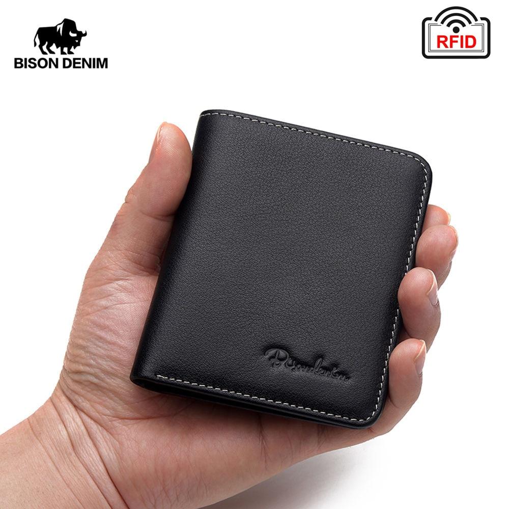 061cdaefc BISON DENIM Bolso Negro para hombres carteras de cuero genuino para hombres  cartera delgada de hombre