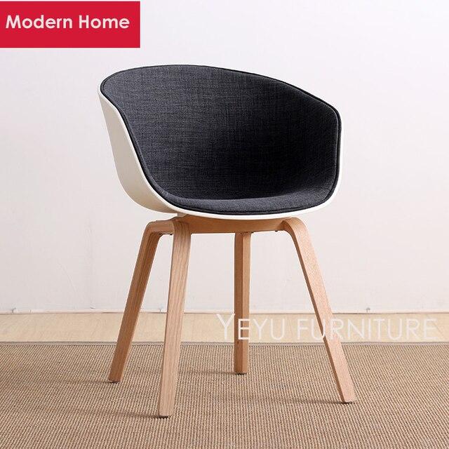 Incroyable Minimalist Modern Design Plastic And Wood Leg Half Soft Cover Dining Chair  Fashion Shell Living Room