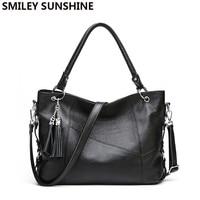 100% Soft women genuine leather bag female fashion winter bag woman big shoulder bag black leather handbag hobo ladies hand bag