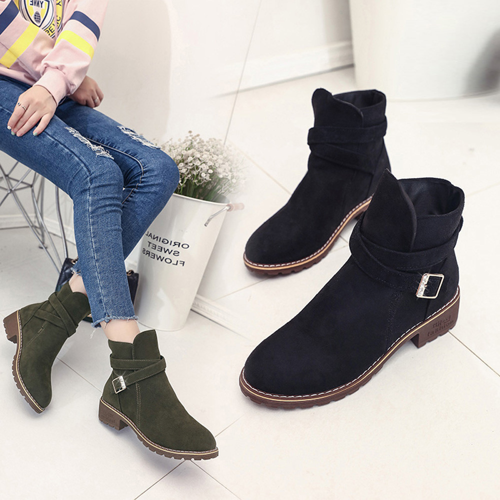 7bbb8af15f4 US $13.54 28% OFF|Women Buckle Ladies Faux Warm Boots Ankle Boots Middle  Heels Martin Shoes T80726-in Ankle Boots from Shoes on Aliexpress.com | ...