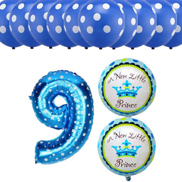 13pcs Lot Boy Girl 9 Years Old Birthday Balloons Number 8 Foil Balloon Dot Latex Kids Happy Party Decorations