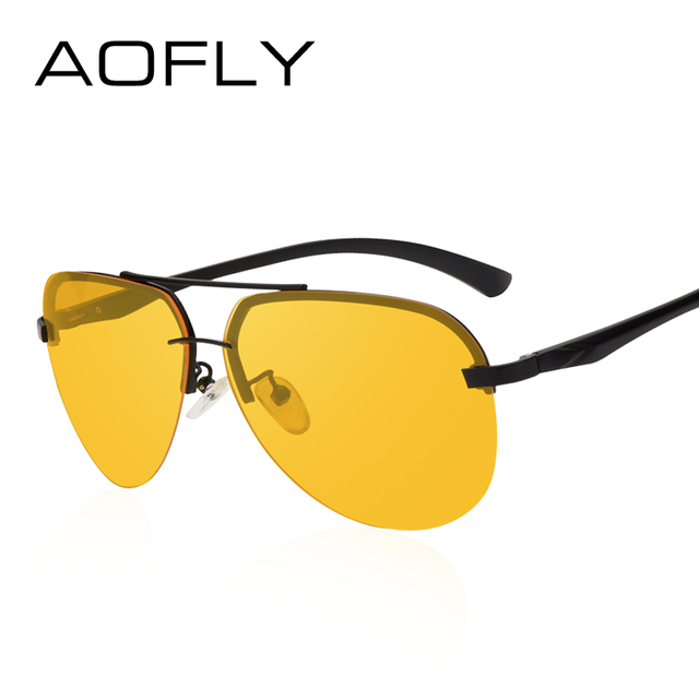AOFLY New Arrival Yellow Polarized Rimless Sunglasses Men Women Night Vision Goggles Driving Glasses Metal Legs Eyewear AF8053