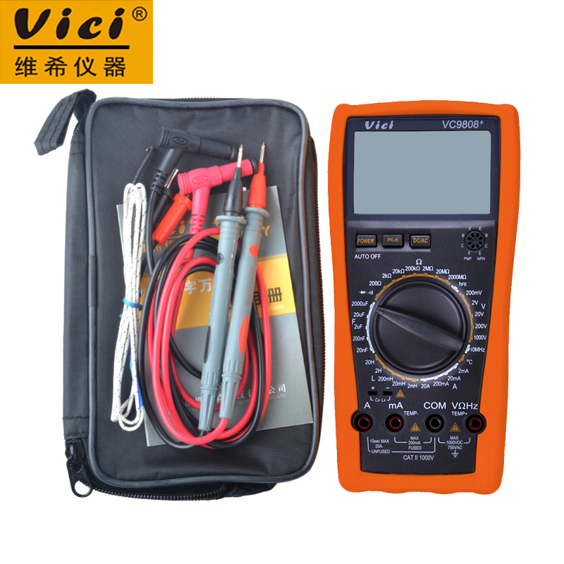VICI VC9808+ 3 1/2 Digital multimeter Electrical Meter Inductance Res Cap Frequency Temperature AC/DC Ohmmeter Tester 20A vici vichy vc480c 3 1 2 digital milli ohm meter resistance tester 4 wire test lcd multimeter diagnostic tool tester data hold