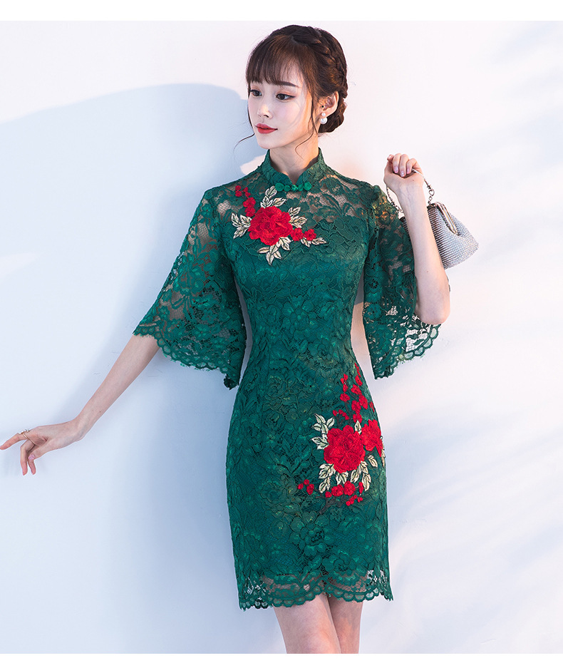 Vestido Oriental Wedding Gowns Modern Red Flower Qipao