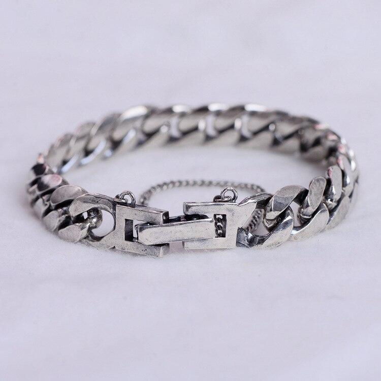 2018 nouveau produit S925 en argent sterling chaîne de sécurité hommes personnalité chaîne en argent bracelet