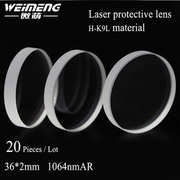 20 pieces/bag  36*2 circular H-K9L  laser Protective lens & Window Glass  DOUBLE SIDE yellow Film for Cutting machine