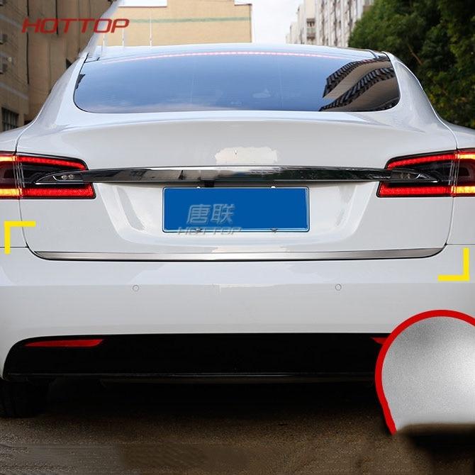 все цены на Stainless Steel Rear trunk streamer for Tesla Model S 2014 2015 2016 2017 2018 car styling онлайн