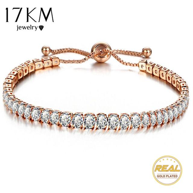 17KM Fashion Cubic Zirconia Tennis Bracelet & Bangle Adjustable Pulseras Mujer C