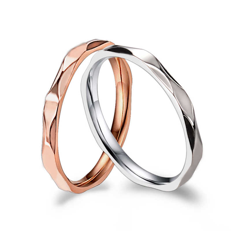 KNOCK Small Ring for Women and Men Silver/Rose Gold Color Stainless Steel Wedding Ring 2mm Width Exquisite Ring