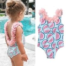Новые летние детская одежда для девочек с шортами с принтом арбуза купальник цельное платье с цветочным рисунком, купальники, купальные костюмы милое летнее бикини