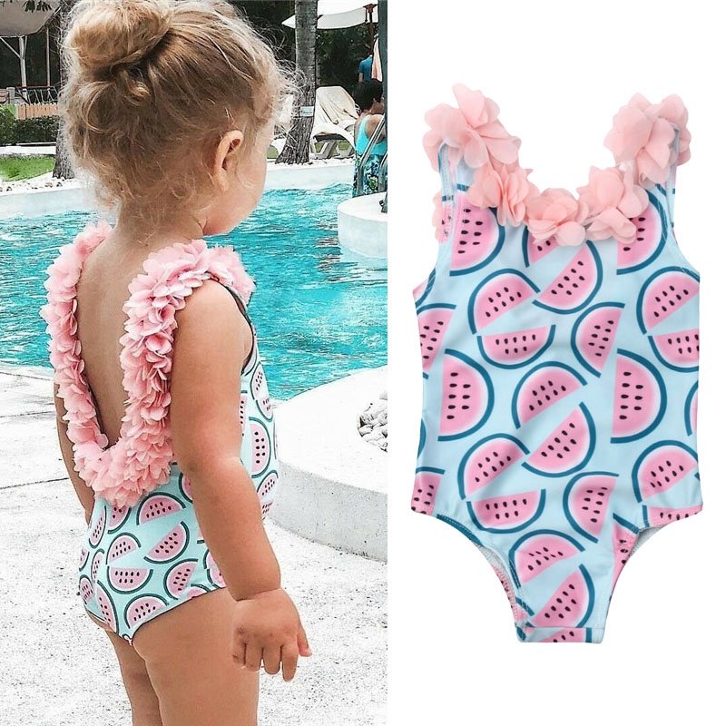 Summer New Toddler Infant Baby Girls Watermelon Swimsuit One-piece Floral Swimwear Swimming Costume Summer Cute Bikini