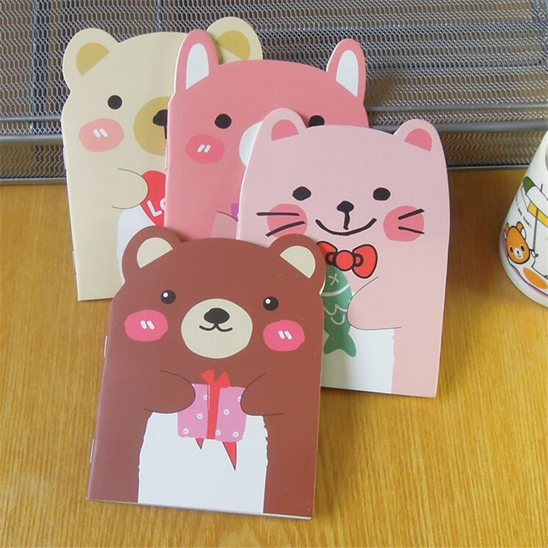 1pcs lot Lovely Bear Cat Design Notebook Diy Mini Travel Diary A6 book Diary Notebook Stationery Student Supplies in Notebooks from Office School Supplies