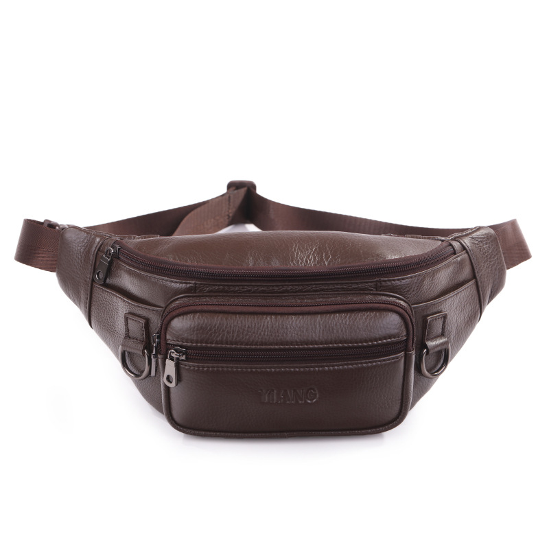 Natural Skin Hip Bum Fanny Belt Pack Pouch Sling Shoulder Bag Fashion High Quality Men Casual Genuine Leather Chest Waist Bags